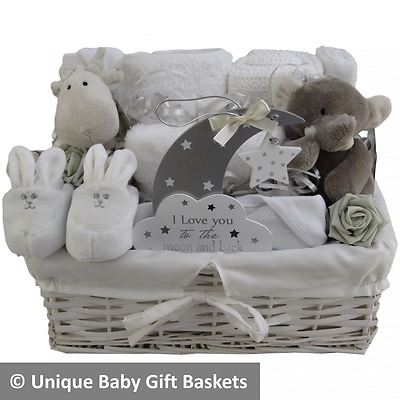 Baby gift basket baby hamper white and grey unisex neutral baby shower unique