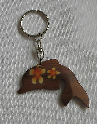 Dolphin Key Chain Keyring Wood Hand Painted New Brown Yellow Flowers
