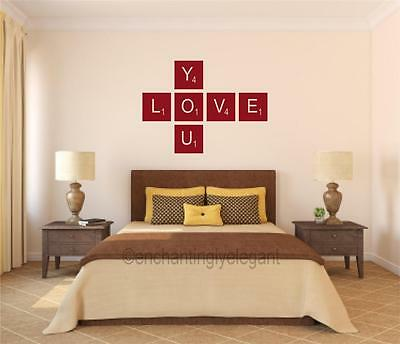Love You Scrabble Tiles Vinyl Decal Wall Sticker Words Letters Teen Room Decor