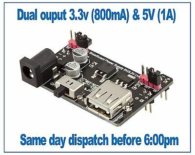 Breadboard Power Supply Module PSU 3.3V (800mA) and 5V (1A), Robotdyn
