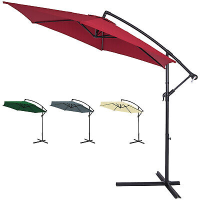 Large Garden Sun Parasol 3m Shade Crank Handle Hanging Patio Umbrella Canopy
