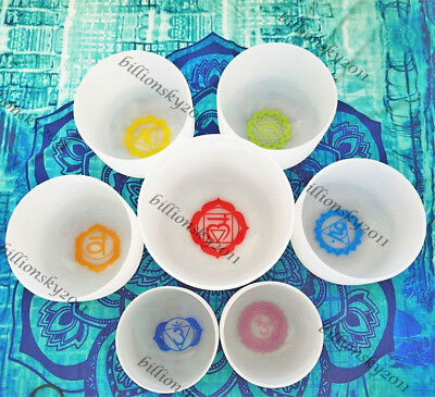 """Chakra Tuned Set With Paternoster Set of 7 Frosted Crystal Singing Bowls 8""""-10"""""""