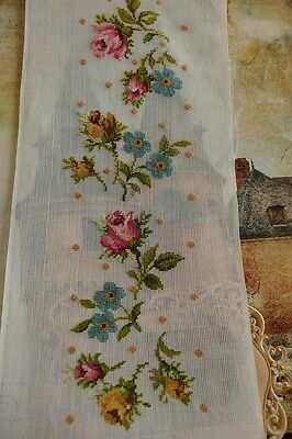 Full Petit Point Stunning PREWORKED needlepoint canvas Roses Blue Yellow Flowers