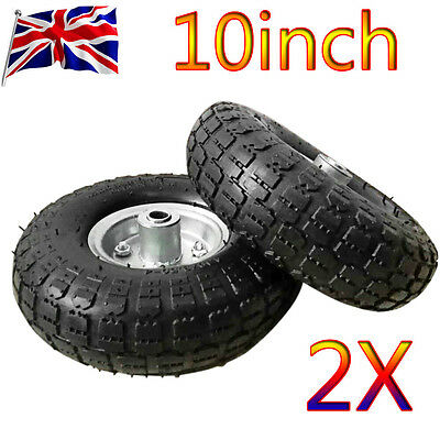 """NEW 2 x REPLACEMENT 10"""" INCH SACK HAND TRUCK TROLLEY WHEEL BARROW TYRE UK"""
