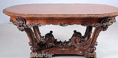 Antique Carved Continental Walnut Dining Table & 6 Chairs