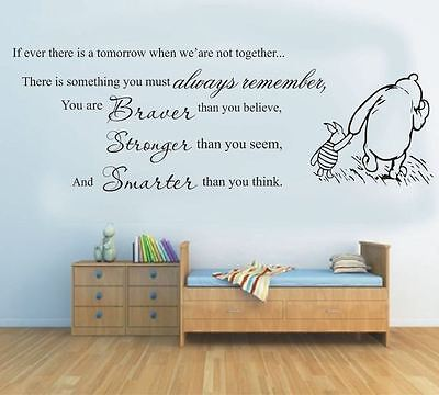 wall stickers winnie the pooh you braver stronger vinyl decal decor Nursery kids