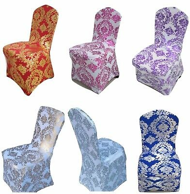 Spandex Lycra Chair Cover Golden/Silver Floral Print Wedding Party Events Xmas