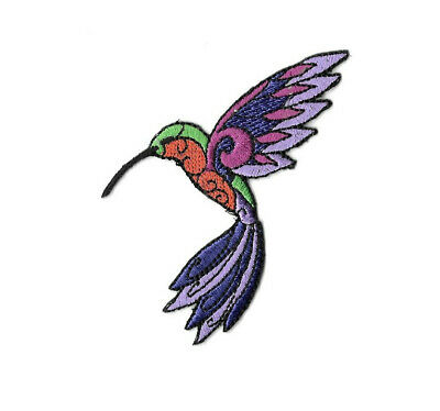 Hummingbird - Bird - Garden - Colorful Embroidered Iron On Applique Patch - L