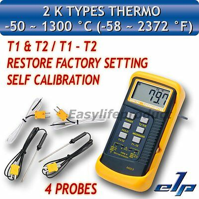 Digital Thermometer K-Type Metal Thermocouples 4 Probe Sensor -50~1300°C 2372°F