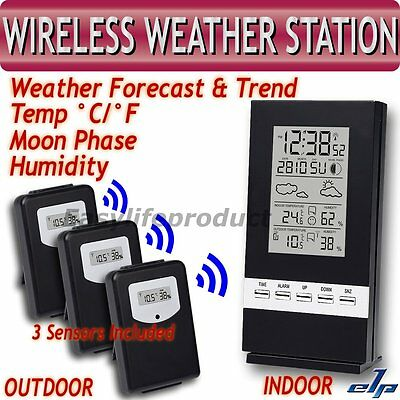 Wireless Weather Station Indoor Outdoor Remote Temperature Humidity 3 Sensors