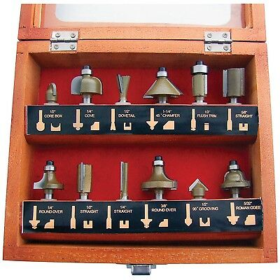"""12pc 1/4"""" Professional Shank TCT Tipped Router Bit Set With Wooden Case F3700A"""