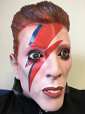 David Bowie Mask Overhead Latex Ziggy Fancy Dress Stardust Celebrity Costume