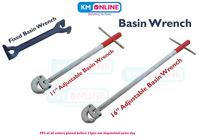 """Plumber 15-22mm Fixed Basin Wrench / 11""""-16"""" Adjustable Tap Nut Spanner Sink Bat"""
