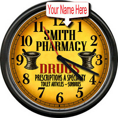 Personalized Pharmacy Pharmacist Vintage Retro Drug Store RX  Sign Wall Clock