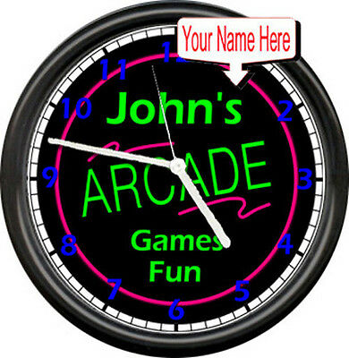 Personalized Game Room Arcade Video Game Your Name On This Gift Wall Clock
