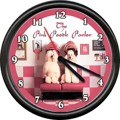 Pink Poodle Dog Beauty Salon Pet Grooming Groomer Shop Store Sign Wall Clock