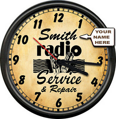 Personalized Your Name Radio Tube Shop Service Repair Retro Vintage Wall Clock