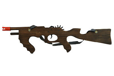 Wooden Thompson Rubber Band Rifle Shooting Gun Wood Toy Gift for Kids and Adults
