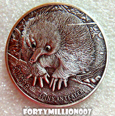 PAPUA NEW GUINEA 2012 5 KINA THE SPINEY ANTEATER  BLACK DIAMONDS Silver 100 MADE