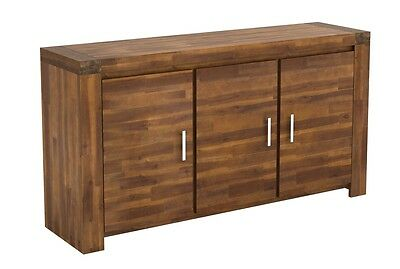 Solid Acacia Wood Sideboard 3 Door 160cm: Fully Assembled: Free Delivery!