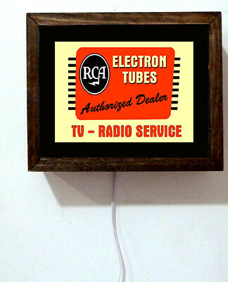 RCA Radio Electron Tube Service Authorized Dealer Repair Light Lighted Sign