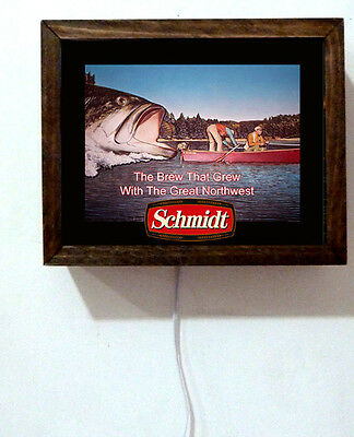 Schmidt Beer Fishing Fish Boating Wildlife Tavern Bar Light Lighted Sign
