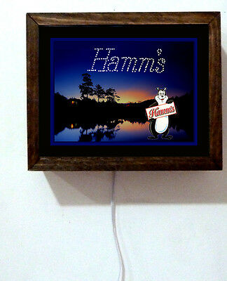 Hamm's Hamms Beer Bear Camping Tavern Bar Stars Starry Night Light Lighted Sign