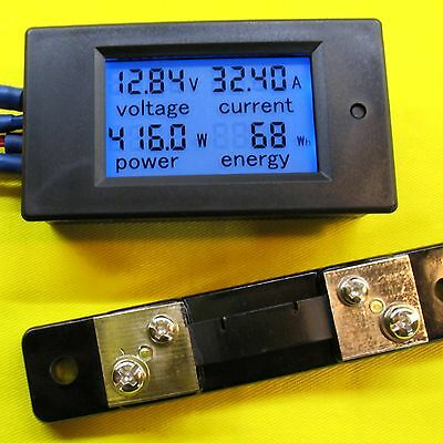 LCD Voltage Current 50A DC 100V Volt Amp Power Meter 12V 24V 48V Battery Solar