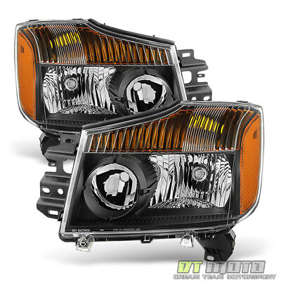 Black For 2004-2015 Titan 04-07 Armada Headlights Replacement Front Lamps Pair