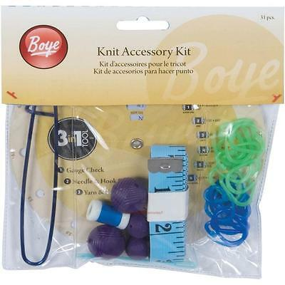 Boye 31 Piece KNIT ACCESSORY KIT Knitting Needle Guage Point Protectors Markers