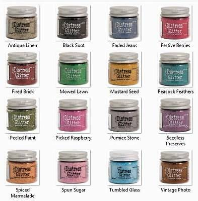 Tim Holtz Ranger DISTRESS GLITTER, 1 oz each You Get all 16 Colors!!!