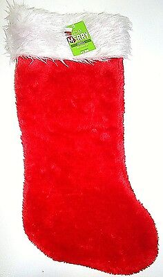 """Home Elements - 19"""" - Christmas - Holiday - Plush - Red - White - Stocking - New"""