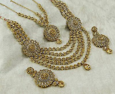 3PC Goldtone Necklace Set Bollywood Traditional Ethnic Indian Bridal Jewelry