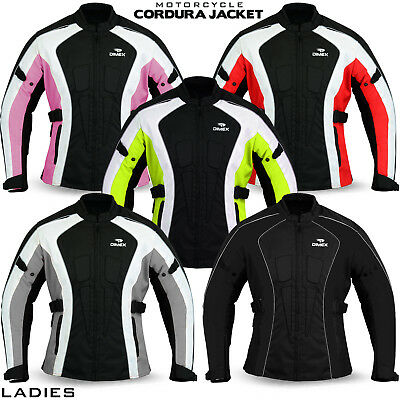 Ladies Motorcycle Waterproof Cordura Textile Jacket Motorbike Armours Pink, Red