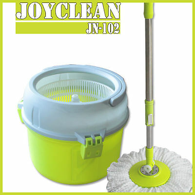 New 360° Spinning Rotating Floor Mop Stainless Steel Spin Dry Bucket 3 Mop Heads