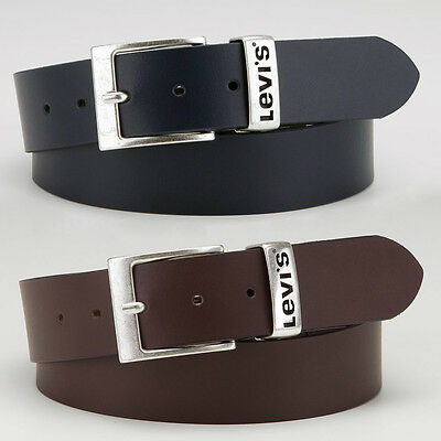 "Levi's Mens Branded 0404 Black & 0402 Brown Leather Belt Sizes 32"" - 44"". BNWT"