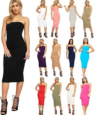 Womens Long Boob Tube Strapless Stretch Bodycon Ladies Pencil Midi Dress Party