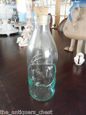 VINTAGE ABSOLUTELY PURE MILK BOTTLE WITH EMBOSSED COW MADE IN ITALY , wi/cork[10