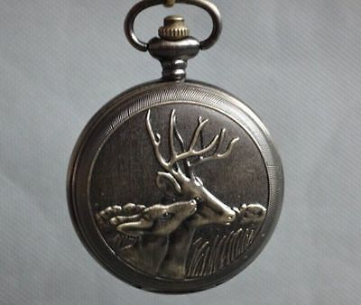 China Bronze Sika deer Sculpture Mechanical An Old Pocket Watch - Double lid