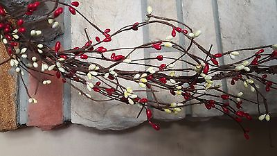 "DLCC~24"" Red/white Pip berry Garland Primitive Two feet"