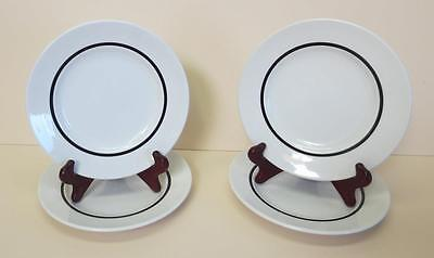 "Set of 4 J. & G. Meakin Ironstone 7"" White w/Black Band Salad Plates"