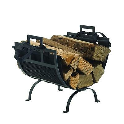 Firewood Rack Iron Log Holder 22 in. Heavy-Duty Transitional Design Durable Feat
