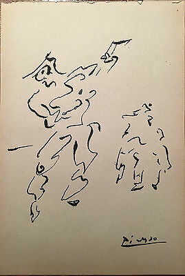 Picasso Original Pen Ink Hand Signed Drawing Moving Figures