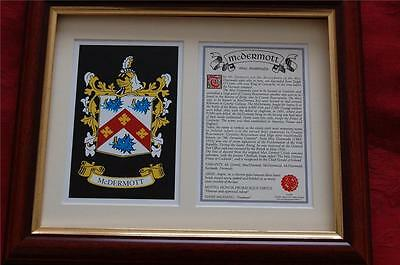 McDERMOTT Heraldic Framed Coat of Arms Family Crest and History