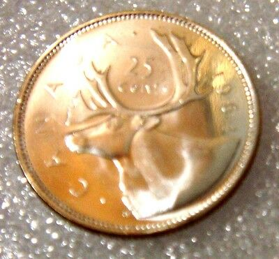 Canada 1964 25 Cents Caribu 80% Silver Choice Uncirculated