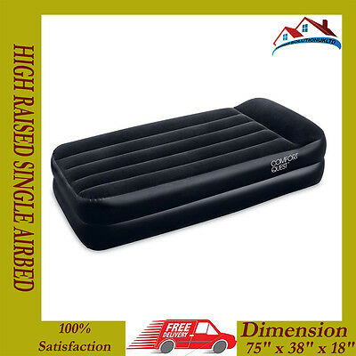 Best Way High Raised Flocked Single Inflatible Airbed With Free Internal Pump