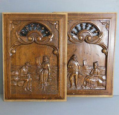 ANTIQUE VINTAGE FRENCH HAND CARVED WOOD PANEL x 2
