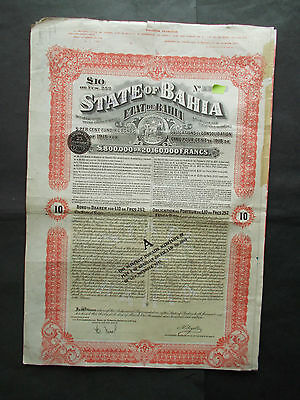Brasil: 5%£20-  State Of Bahia 1915 Gold Loan - Not Cancelled