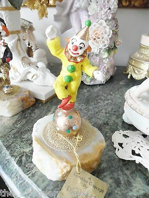 "RON LEE ""DANCING CLOWN"" 1985, in marble base, signed, 7"" tall[6]"
