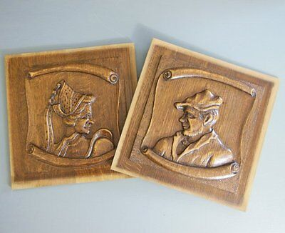 VINTAGE FRENCH HAND CARVED WOOD PEDIMENT PANEL Portraits